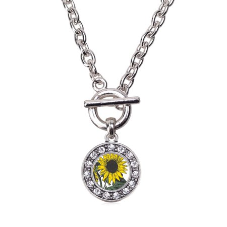 Sunflower Circle Charm Toggle Necklace