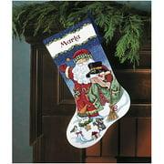 "Santa & Snowman Stocking Counted Cross-Stitch Kit, 16"""