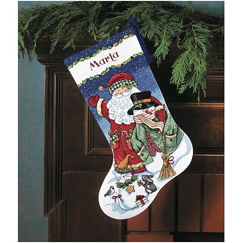 Santa & Snowman Stocking Counted Cross-Stitch Kit, 16""