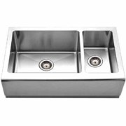 Houzer EPO-3370SR Epicure Series Apron Front Farmhouse Stainless Steel 70/30Double Bowl Kitchen Sink, Small Bowl Right