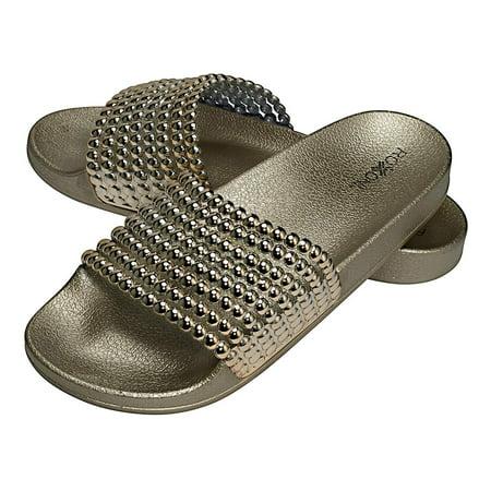 Gold Love Slide (Roxoni Womens Slide Sandals Gold)