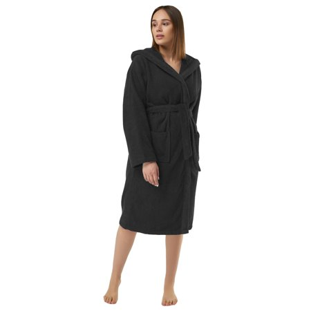 Heavy Womens 3.5lb Black Hooded Terry Cloth Bathrobe. XXL Full Length 100% Turkish Cotton
