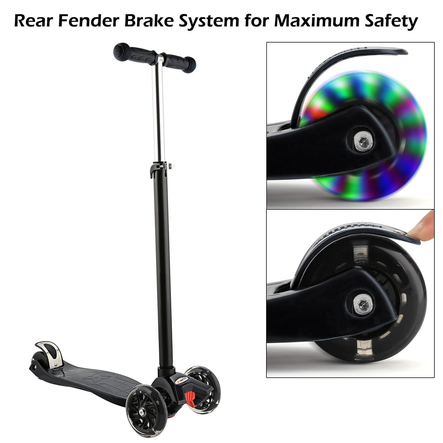 3 Wheel Kick Scooter for Kids Boys Girls Adjustable Height Aluminum Alloy by