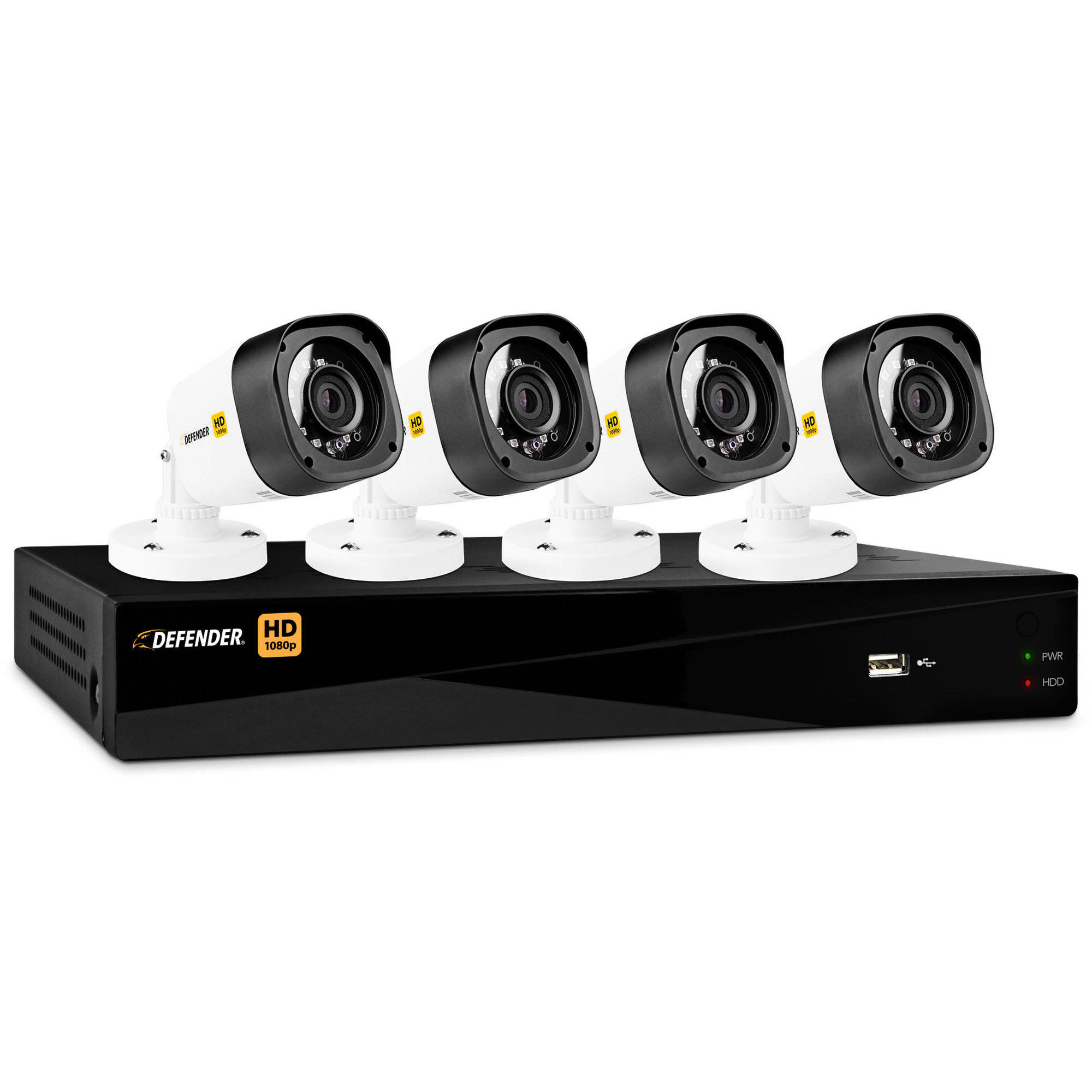 Defender Hd 1080p 4 Channel 1tb Dvr Security System With Bullet Standalone Cameras