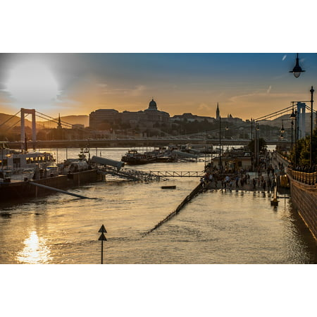 Hungarian Water - LAMINATED POSTER Flood River Water Damage Sunset Hungary Budapest Poster 24x16 Adhesive Decal