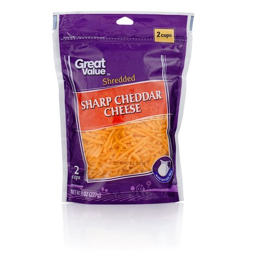 Great Value Sharp Cheddar Shredded Cheese, 8 oz