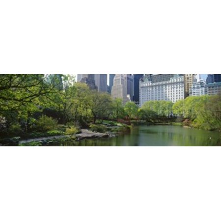 Pond in a park Central Park South Central Park Manhattan New York City New York State USA Poster