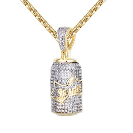 Men's 14k Gold Finish Sprite Mini Bottle Iced Out Pendant (2773ap Lombard Mini Pendant)