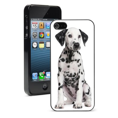 For Apple iPhone SE Hard Back Case Cover Cute Dalmatian Puppy Dog (Black)