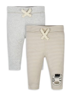 Gerber Organic Cotton Baby Unisex Safari Active Pants, 2 Pack