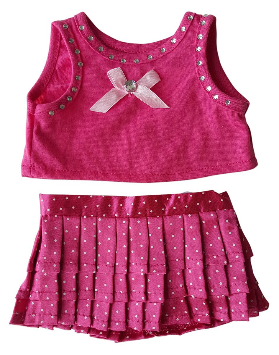 """Pink Polka Dot Top and Skirt Fits Most 14"""" 18"""" Build-a-bear, Vermont Teddy Bears, and Make Your Own... by Animaland"""