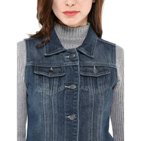 Women's Buttoned Washed Denim Vest Jacket w Chest Flap Pockets Blue S (US 6) - image 2 de 6