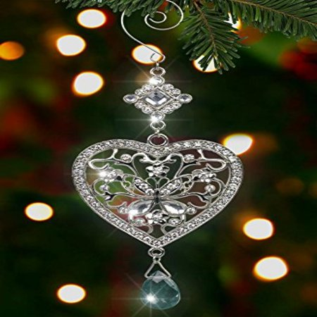 Heart and Butterfly Hanging Ornament - Clear Crystals and Filigree Ornament - Sparkly Silver Christmas Ornament - Silver Christmas Decorations - Walmart.com