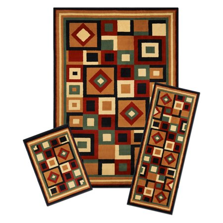 Capri 3 Piece Rug Set - Chelsea - 5'x7' Area Rug with Matching 22