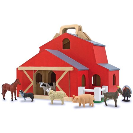 Melissa Doug Fold Go Barn With 7 Animal Play Figures
