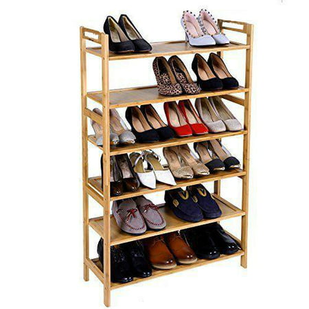 Ktaxon 6 Tier Natural Wood Bamboo Shelf Entryway Storage Shoe Rack,18-24 Pairs Bamboo Ring Top Tier