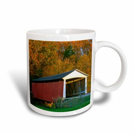 Festival Ceramic (3dRose IN, Billie Creek Village, Covered Bridge Festival - US15 AMI0107 - Anna Miller, Ceramic Mug, 15-ounce )