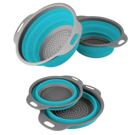 2Pcs Collapsible Colanders Strainers Set - Includes 2 Space-Saver Folding Strainers Sizes 8