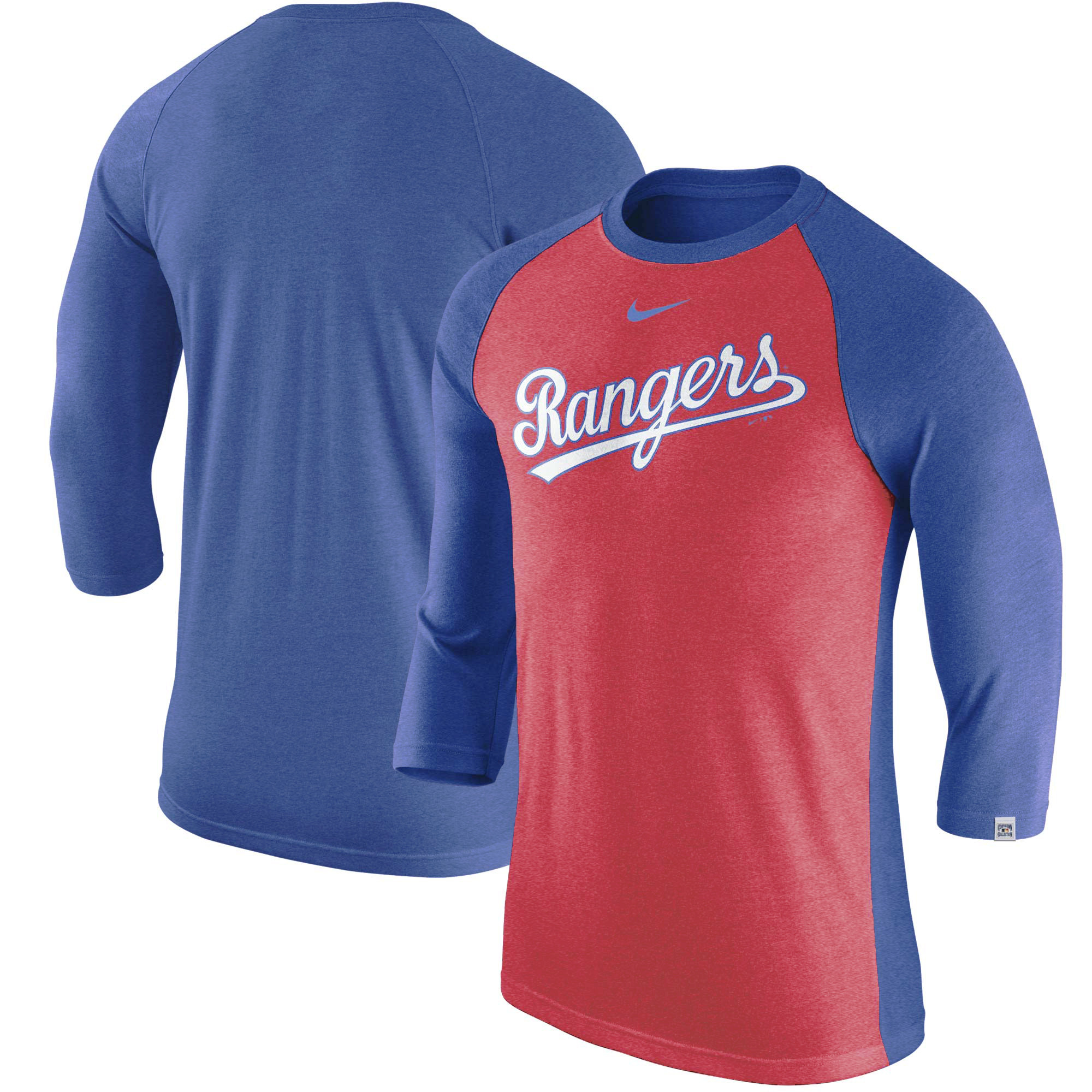 Texas Rangers Nike Wordmark Tri-Blend Raglan 3/4-Sleeve T-Shirt - Red/Royal