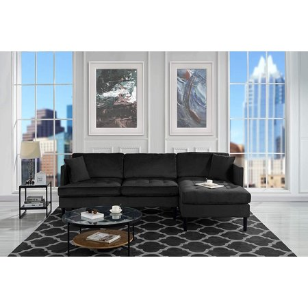 Outstanding Mid Century Modern Tufted Velvet Sectional Sofa L Shape Couch Black Inzonedesignstudio Interior Chair Design Inzonedesignstudiocom