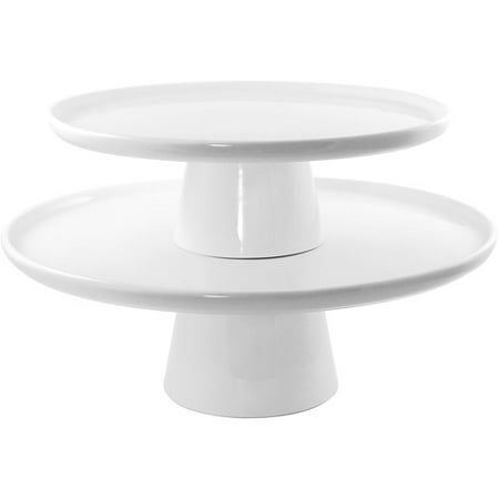 10 Strawberry Street 2 Pc Cake Stand Set, White