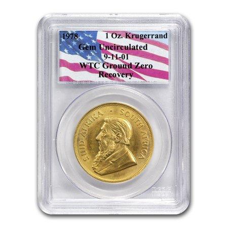 South Africa 1 oz Gold Krugerrand Unc PCGS (WTC, Random