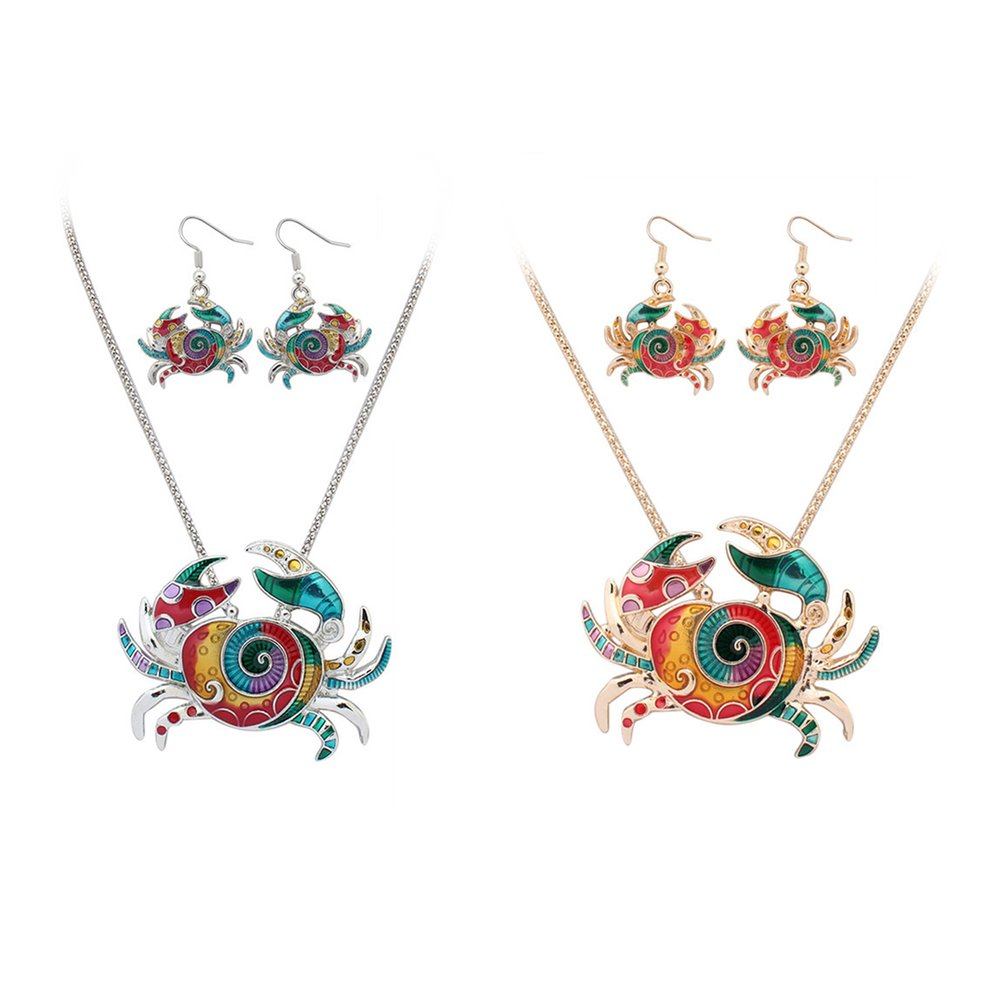 Stylish Womens Necklace Earings Set Colorful Enamel Crab Pendant /& Eardrops Party Earbob Pendant Jewelry Accessories