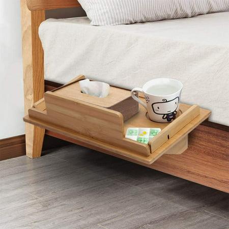 Yosoo Attachable Bedside Table Nightstand Organizer Shelf,Bedside Shelf Bedside Shelf Organizer Bedside Wall Shelf Small Bedside Shelf ,Natural Bamboo Bedside Shelf 1 Side Shelf