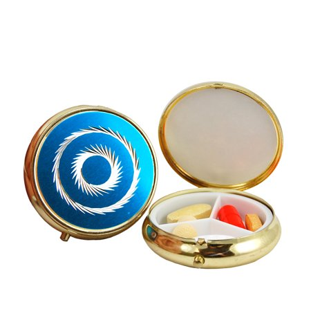 3 Compartment Round Fashion Pill Case (Blue Circle) ()