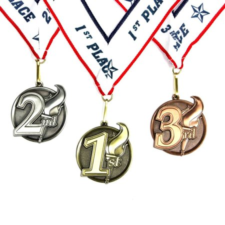 1st 2nd 3rd Place Torch Award Medals - 3 Piece Set (Gold, Silver, Bronze) - Includes Ribbon - First Place Medal