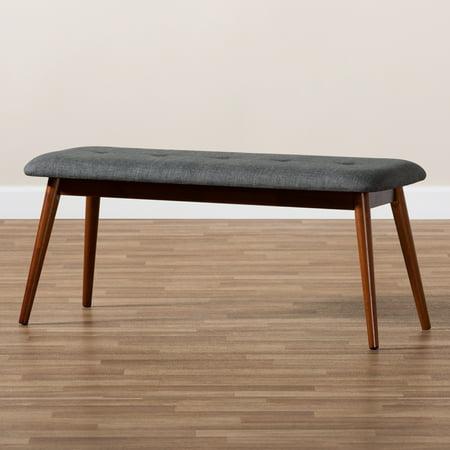 Baxton Studio Flora II Mid-Century Modern Dark Grey Fabric Upholstered Medium Oak Finished Wood Dining Bench Modern Oak Bench
