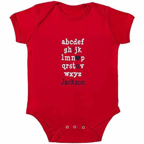 "Personalized Baby Boys' ""I Love You Alphabet"" Bodysuit, Red"