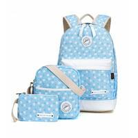 Women Teenage Girls Backpack Canvas Travel Backpacks School Bags Camping Rucksack Sky Blue