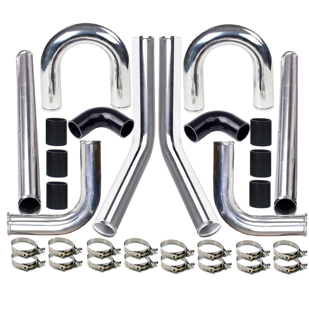 "Ktaxon Universal 2.5"" 63mm Polished Aluminum Intercooler Pipe Kit + Black Hose + Clamp"