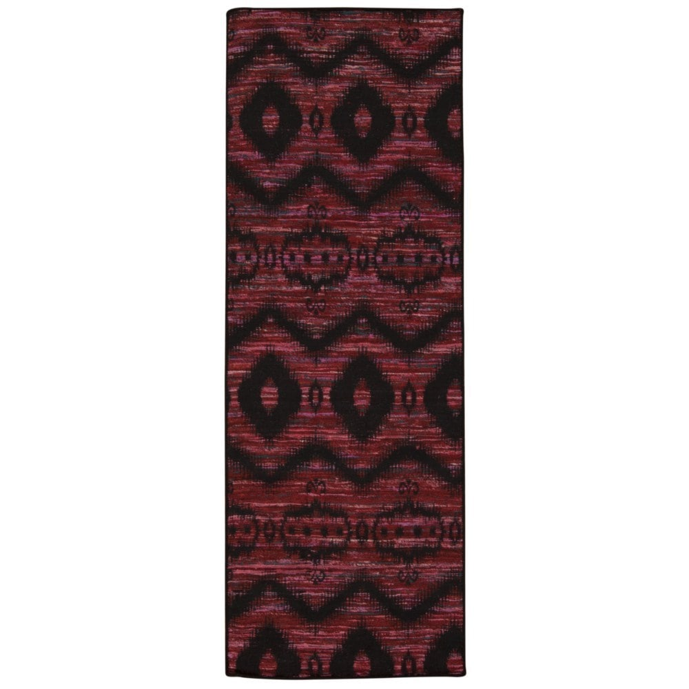 Rug Squared Olympia Burgundy Black Graphic Area Rug 2 6 X 7 6