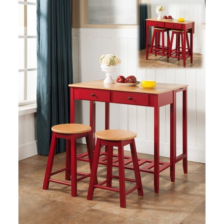 Rave 3 Piece Red & Natural Top Wood Contemporary Kitchen Dinette Breakfast Pub Set (Folding Drop Down Table, 2 Stools, 2 Storage Drawers)