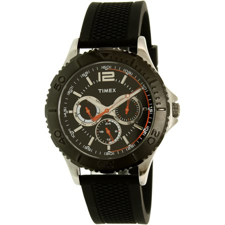 Men's Taft Street Multifunction Watch, Black Silicone Strap