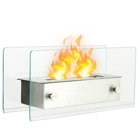 Costway Tabletop Fireplace Portable Stainless Steel Ventless Bio Ethanol Ethanol Biofuel Fireplace