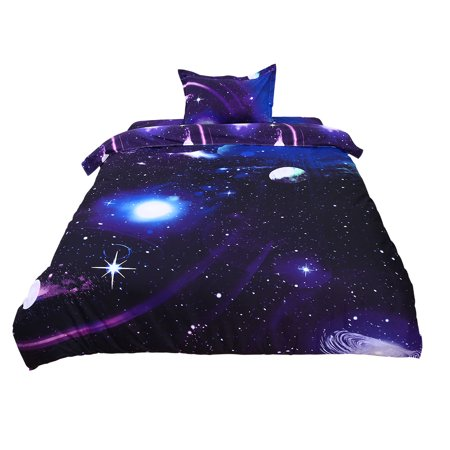 PiccoCasa Galaxy Sky Cosmos Night Pattern 3D Printed Single Size 3pcs Bedding Quilt Duvet Cover Set Dark Purple (Singlet Pattern)