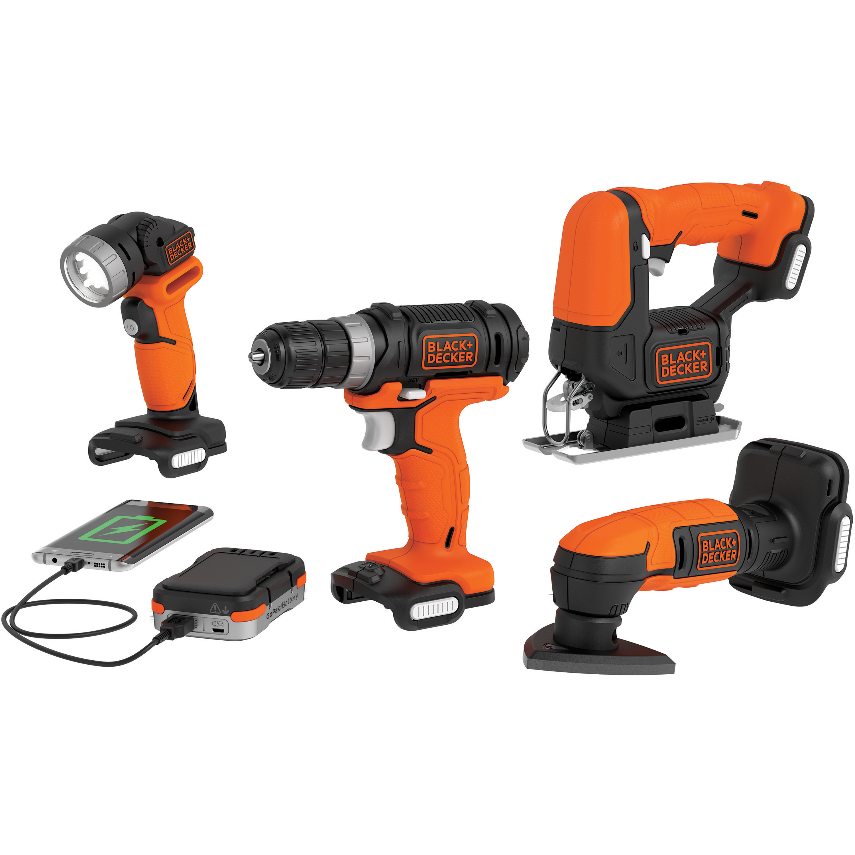 BLACK+DECKER BDCK502C1 GoPak 4-Tool Combo Kit (Drill/Jig/Sander/Light)