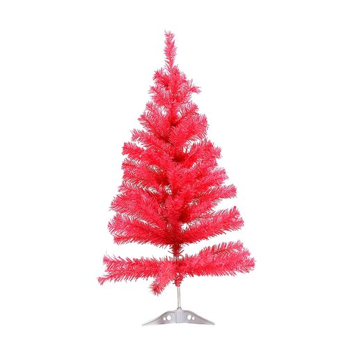 The Holiday Aisle Miniature 3' Pink Pine Artificial Christmas Tree with Plastic Stand