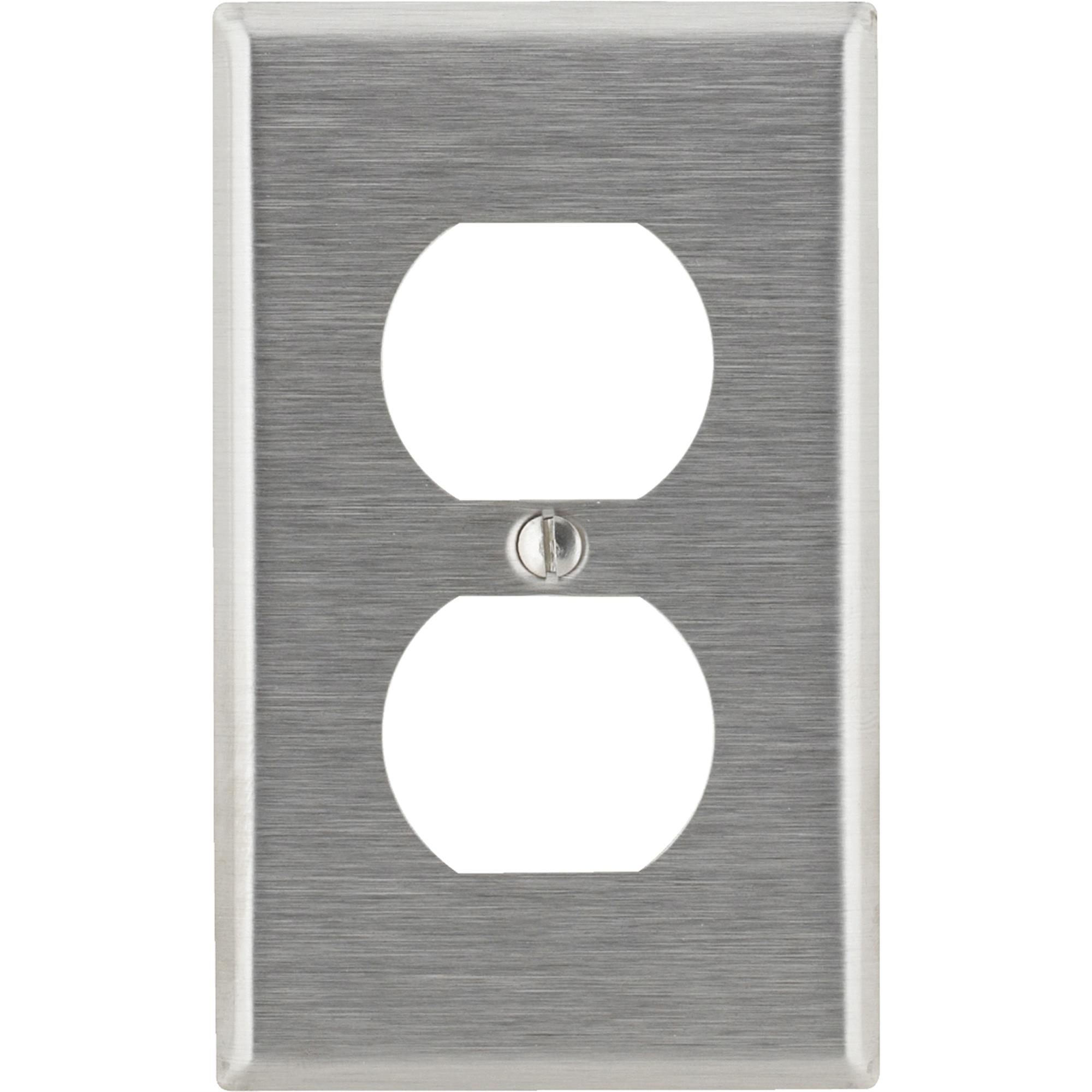 Leviton 84003 1-Gang Duplex Device Receptacle Wallplate, Standard Size, Device Mount, Stainless Steel