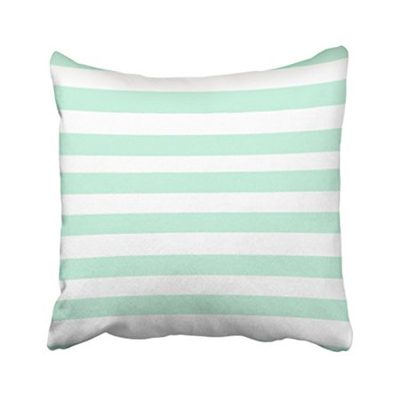 - WinHome Decorative Simple Design Cheap Pillowcase Stripe Horizontal Mint Green Throw Pillow Size 18x18 inches Two Side