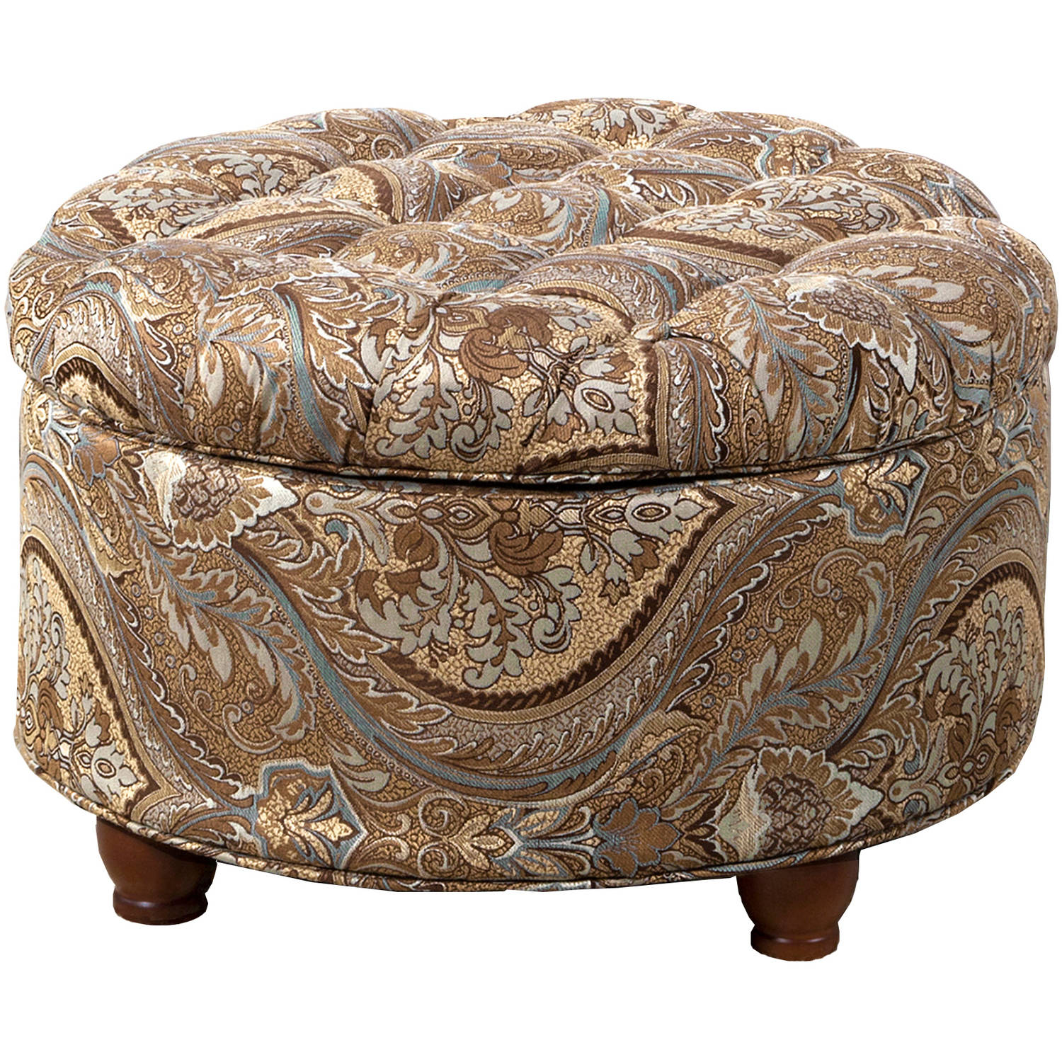 HomePop Button Tufted Round Storage Ottoman, Multiple Colors