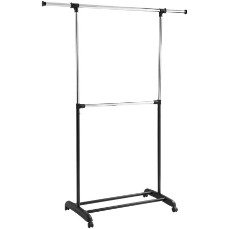 Mainstays™ Adjustable 2-Tier Rolling Garment Rack, Adjustable Design
