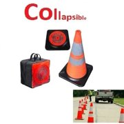 Collapsible Traffic Cone LED Lighted Safety Heavy-Duty w/ Carry Case, Highly Visible, Reflective, Orange  (5 Pack)