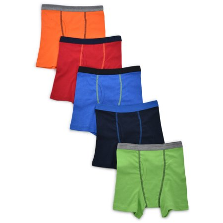 Wonder Nation Solid Boxer Briefs, 5 Pack