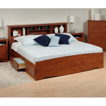 platform storage bed w bookcase headboard bed size king color cherry. Black Bedroom Furniture Sets. Home Design Ideas