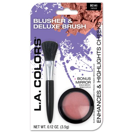 (2 Pack) LA Colors Blusher & Deluxe Brush, Natural, 0.12 Oz