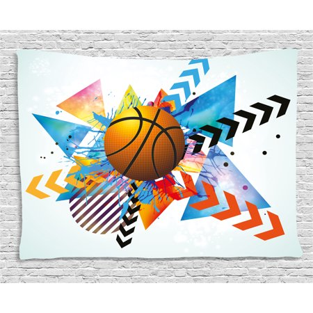 Teen Room Decor Tapestry, Basketball in front of Zigzag Circular Geometric Minimalist Forms Graphic, Wall Hanging for Bedroom Living Room Dorm Decor, 80W X 60L Inches, Multicolor, by -